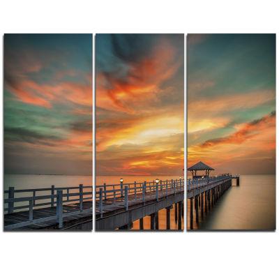 Designart Wooden Bridge Under Wonderful Sky PierSeascape Triptych Canvas Art Print
