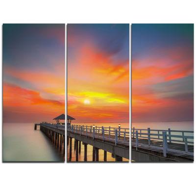 Design Art Wooden Bridge Under Yellow Sky Pier Triptych Canvas Art Print