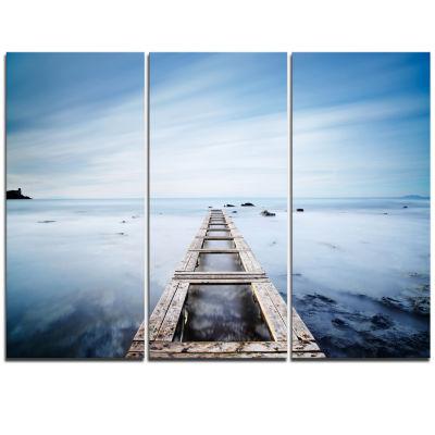 Designart Wooden Jetty In Morning Blue Sea Oversized Landscape Wall Art Print