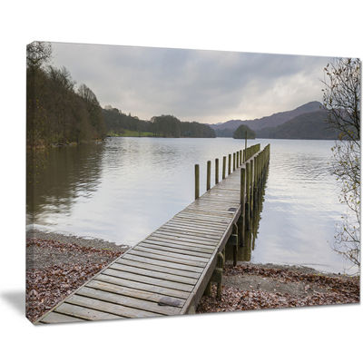 Designart Wooden Jetty On Lake District Wooden SeaBridge Canvas Wall Art