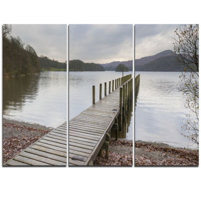 Designart Wooden Jetty On Lake District Wooden SeaBridge Triptych Canvas Wall Art