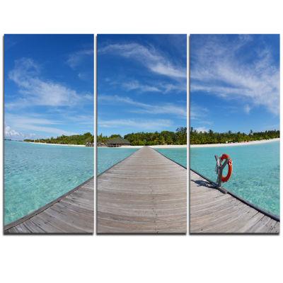 Designart Wooden Pier At Tropical Beach Wooden SeaBridge Triptych Canvas Wall Art