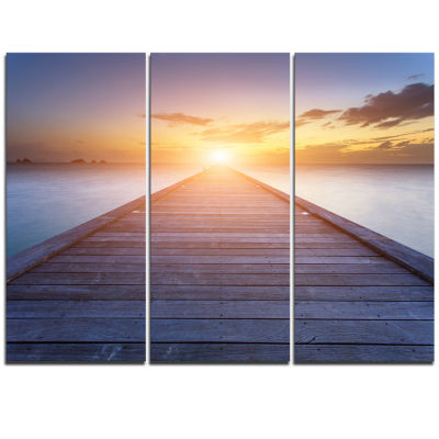 Designart Wooden Pier To Bright Evening Sun Sea Bridge Triptych Canvas Art Print