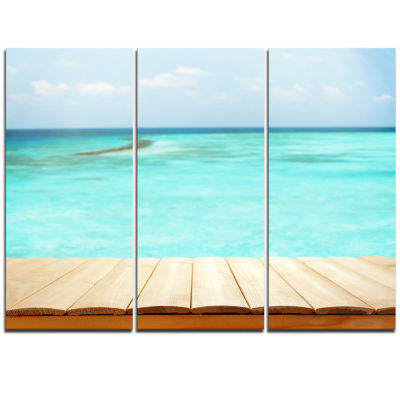 Designart Wooden Planks On Sea Background SeascapeTriptych Canvas Art Print