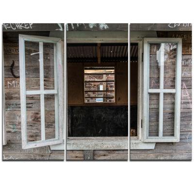 Designart Wooden Walls And Windows Landscape Triptych Canvas Art Print