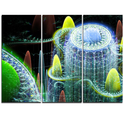 Designart World Of Infinite Fractal Universe Oversized Abstract Triptych Canvas Art