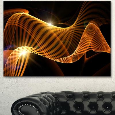 Designart Yellow 3D Shaped Fractal Design Contemporary Abstract Wall Art - 3 Panels