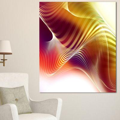 Designart Yellow Abstract Warm Fractal Design Abstract Wall Art Canvas - 3 Panels