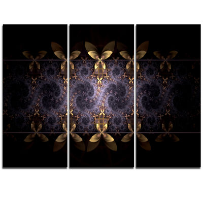 Designart Yellow And Violet Fractal Flower FloralTriptych Canvas Art Print