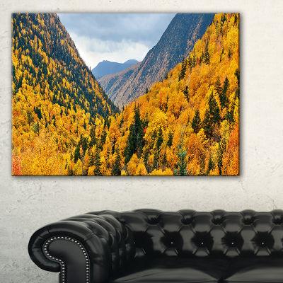 Designart Yellow Autumn Foliage Over Hills Landscape Artwork Canvas