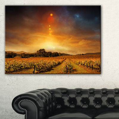 Designart Yellow Autumn Vineyard Sunset LandscapeArtwork Canvas