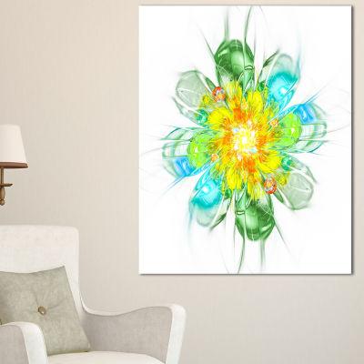 Designart Yellow Blue Glowing Fractal Flower Floral Canvas Art Print