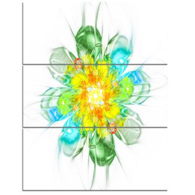 Designart Yellow Blue Glowing Fractal Flower Floral Triptych Canvas Art Print