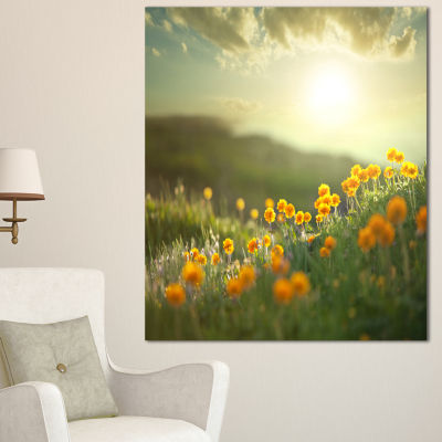 Designart Yellow Flowers In Meadow At Morning Floral Canvas Art Print - 3 Panels