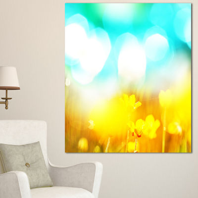 Design Art Yellow Flowers On Blue Background LargeFlower Canvas Art Print - 3 Panels
