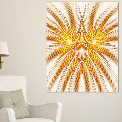 Designart Yellow Fractal Flower Symmetrical DesignLarge Abstract Canvas Artwork