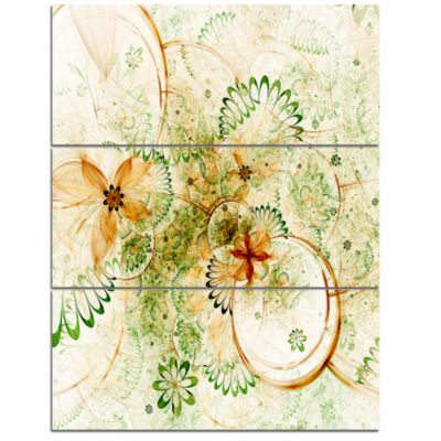 Designart Yellow Green Grungy Floral Shapes LargeFloral Wall Art Triptych Canvas