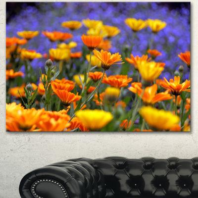 Design Art Yellow Orange Flower Garden Floral Canvas Art Print - 3 Panels
