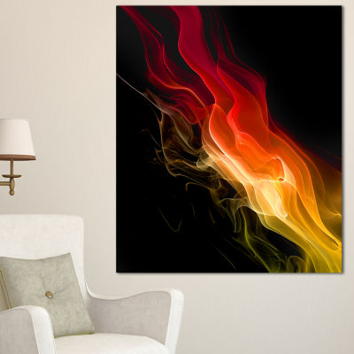 Designart Yellow Red 3D Abstract Waves Contemporary Abstract Wall Art