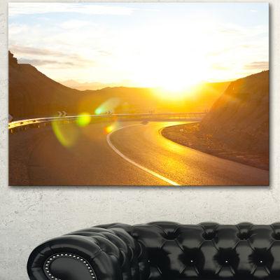 Designart Yellow Road Under Sunset Oversized Landscape Canvas Art - 3 Panels
