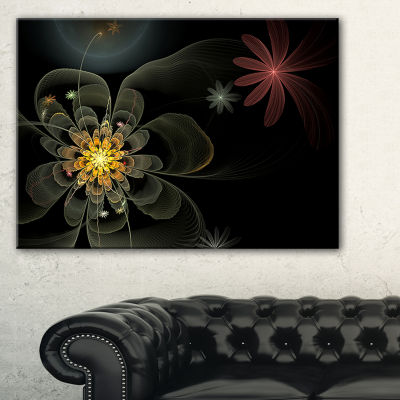Designart Yellow Small Fractal Flower In Black Floral Canvas Art Print