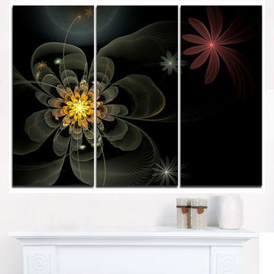 Designart Yellow Small Fractal Flower In Black Floral Triptych Canvas Art Print