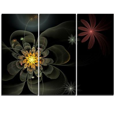 Designart Yellow Small Fractal Flower In Black Floral Triptych Canvas Art Print