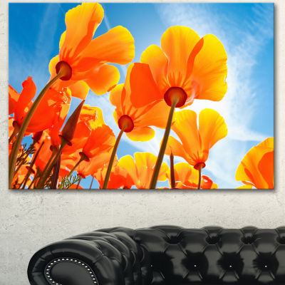 Designart Yellow Spring Flowers On Blue Floral Canvas Art Print - 3 Panels