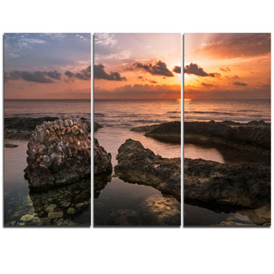 Designart Yellow Sun Over Ancient Ruins OversizedBeach Triptych Canvas Artwork