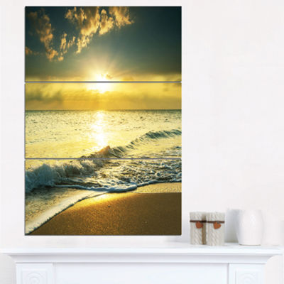 Designart Yellow Sunlight Over Crystal Waters Seascape Triptych Canvas Art Print