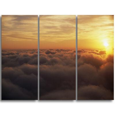Designart Yellow Sunrise Above Clouds Extra LargeWall Art Landscape