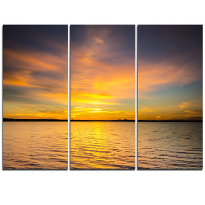 Design Art Yellow Sunrise Light Hitting Waters Large Seashore Triptych Canvas Print