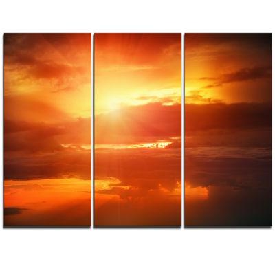 Designart Yellow Sunset Above Clouds Oversized Beach Triptych Canvas Artwork