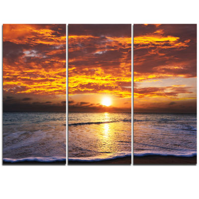 Designart Yellow Sunset Above Foaming Waves ModernBeach Triptych Canvas Art Print