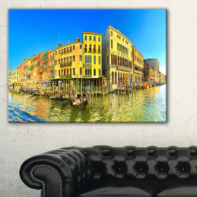 Designart Yellow Tinged Grand Canal Panorama Cityscape Canvas Art Print