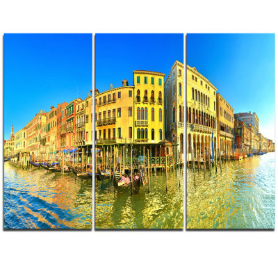 Designart Yellow Tinged Grand Canal Panorama Cityscape Triptych Canvas Art Print