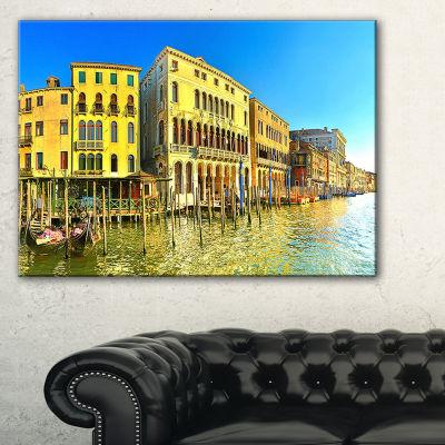 Designart Yellow Tinged Grand Canal Venice Cityscape Canvas Art Print