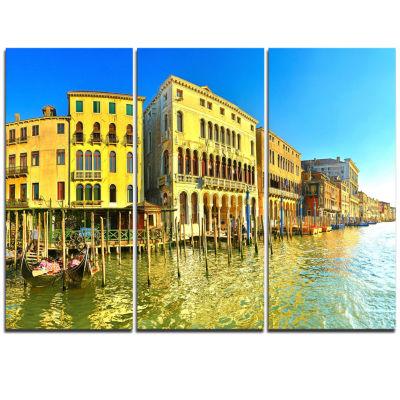 Designart Yellow Tinged Grand Canal Venice Cityscape Triptych Canvas Art Print