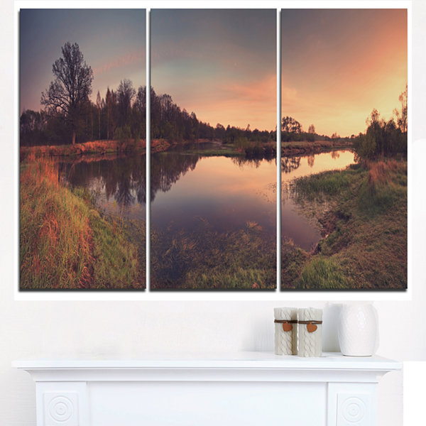 Designart Yellow Tinged Spring Mountains LandscapeArtwork Triptych Canvas
