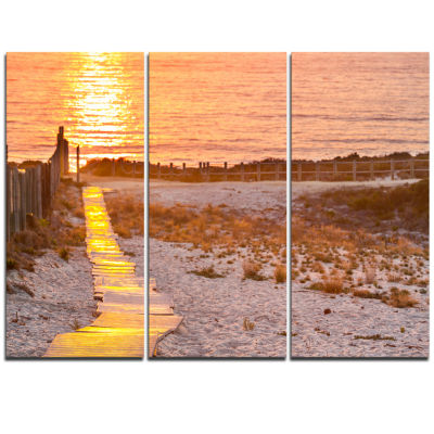 Design Art Yellowish Boardwalk Into Seashore BridgeTriptych Canvas Art Print