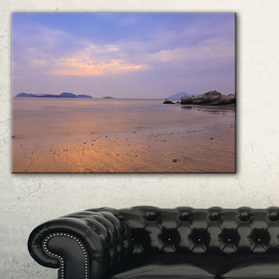 Designart Yellowish Sunset At Lung Kwu Tan Coastline Landscape Artwork Canvas