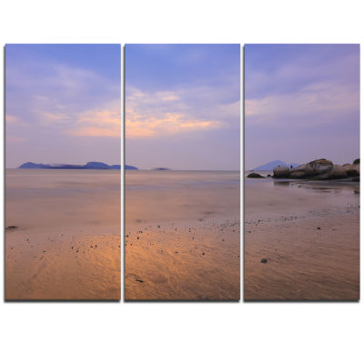 Designart Yellowish Sunset At Lung Kwu Tan Coastline Landscape Artwork Triptych Canvas