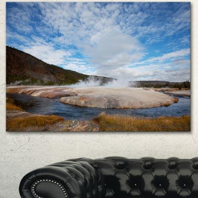 Designart Yellowstone Under Bright Clouds Landscape Canvas Art Print