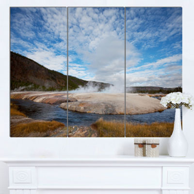 Designart Yellowstone Under Bright Clouds Landscape Canvas Art Print - 3 Panels