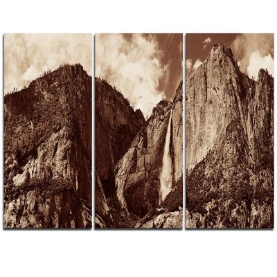 Designart Yosemite Waterfall Panorama Extra LargeSeashore Triptych Canvas Art
