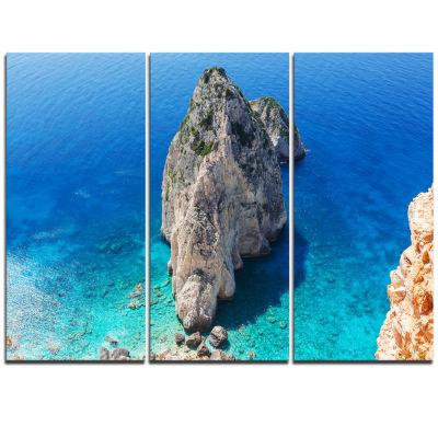 Designart Zakynthos Beautiful Rocky Coast Extra Large Seashore Triptych Canvas Art