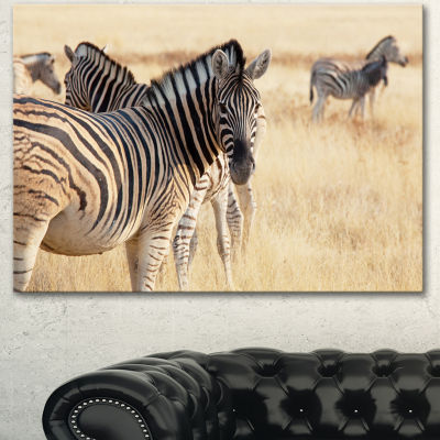 Designart Zebra In Etosha Wandering In Grass African Canvas Art Print - 3 Panels