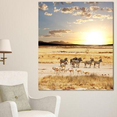 Designart Zebras And Antelopes In Africa OversizedAfrican Landscape Canvas Art - 3 Panels