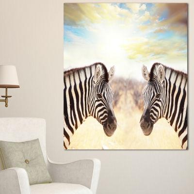 Designart Zebras Face To Face At Sunset African Canvas Art Print