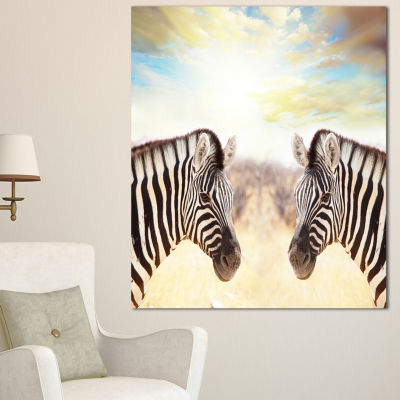 Designart Zebras Face To Face At Sunset African Canvas Art Print - 3 Panels